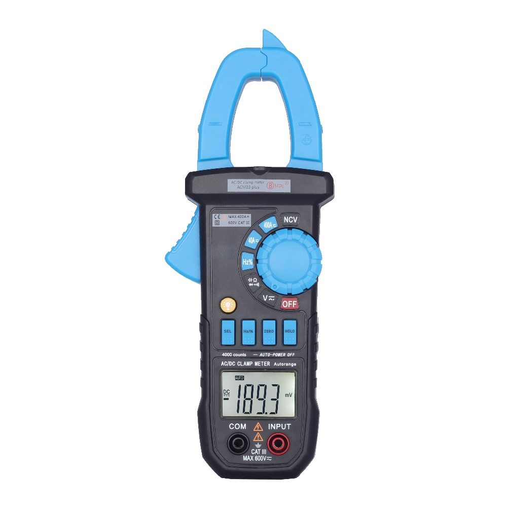 Auto Range AC/DC Corrente di 400A BSIDE ACM03Plus Digital Clamp Meter 4000 Conti Multimetro con Capacità Hz Misura e NCV