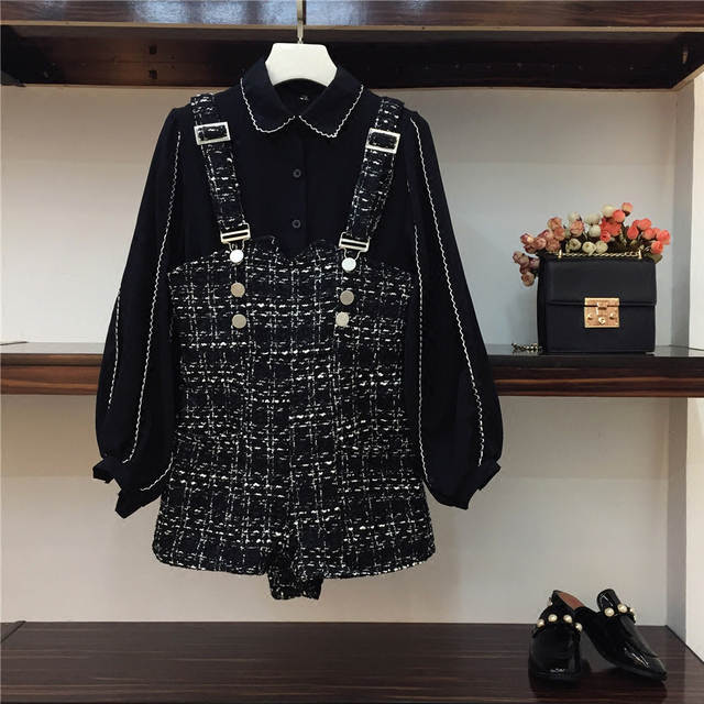 96b0a197d34 2018 New Fashion Spring Women s Chiffon Long Sleeve Shirt + Tweed Jumpsuit  Two Pieces Ladies Casual Shorts Suit