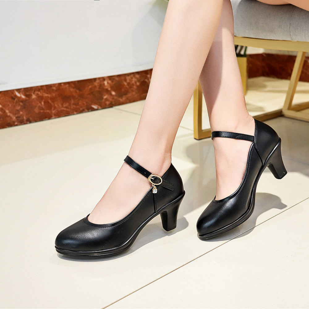 Single-Shoes High-Heel Femme Women's with Buckle-Buckle Chaussure Round-Head Solid-Color