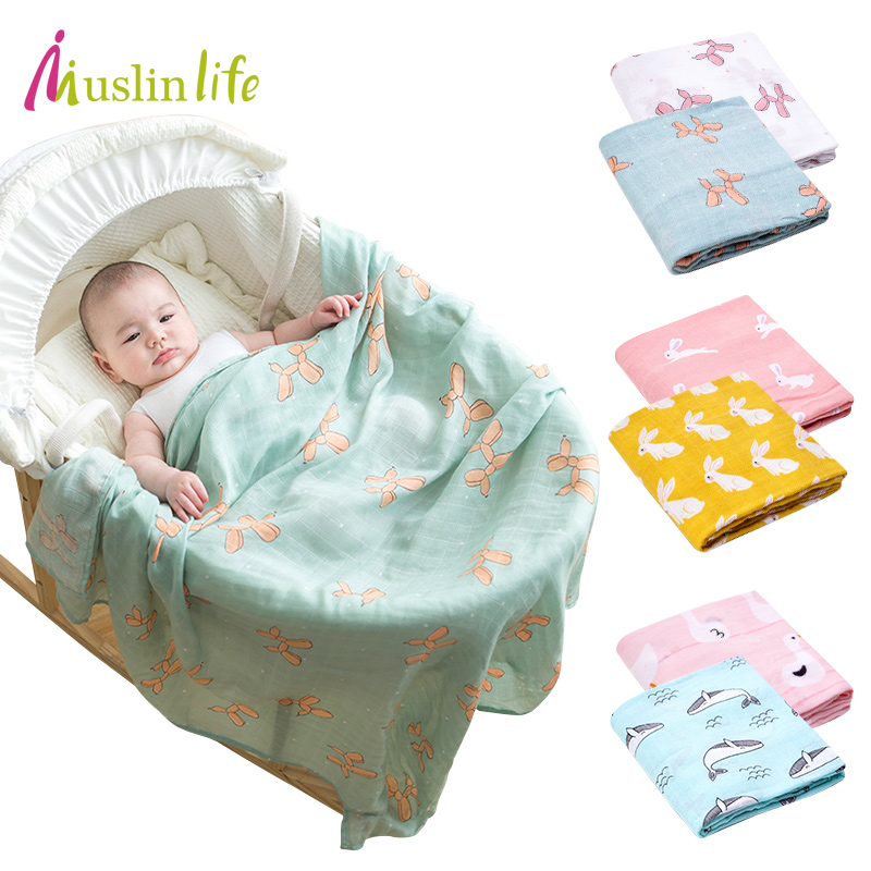 Muslinlife Baby Blankets Newborn Baby Soft Blanket Cotton Bamboo Multifunction As Stroller Blanket Air-conditioned Room Blanket