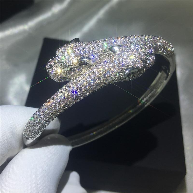 Handmade Leopard Shape Bangle Pave setting 380pcs 5A cubic zirconia Silver color bracelet bangles for women wedding accessaries