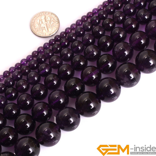 Aaa Grade Round Dark Purple Amethyst Precious Stone Beads Natural Loose For Jewelry Making Strand 15 Whole