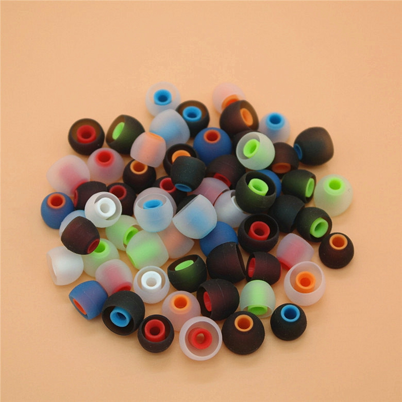 12pcs/6 Pairs 3.8mm soft Silicone In-Ear Earphone covers Earbud Tips Earbuds eartips Dual color Ear pads cushion for headphones