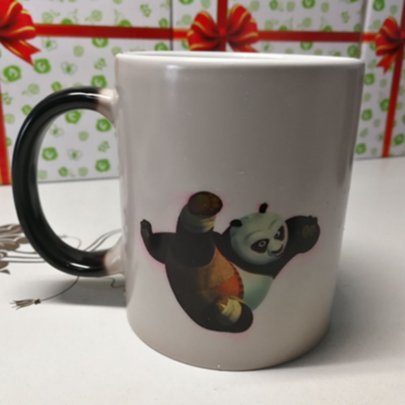 Kung Fu Panda Heat Reveal Mug Color Change Tea Coffee Cup Sensitive Ceramic Chameleon Ma ...