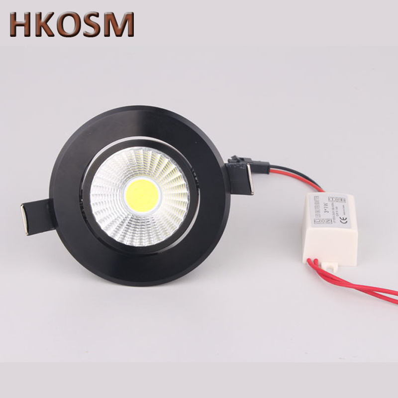 the best attitude fadff 7fb6a US $25.3 8% OFF|LED Downlight COB Ceiling Recessed Down Light 5W Dimmable  Retrofit Kitchen Bathroom black DownLights-in Downlights from Lights & ...
