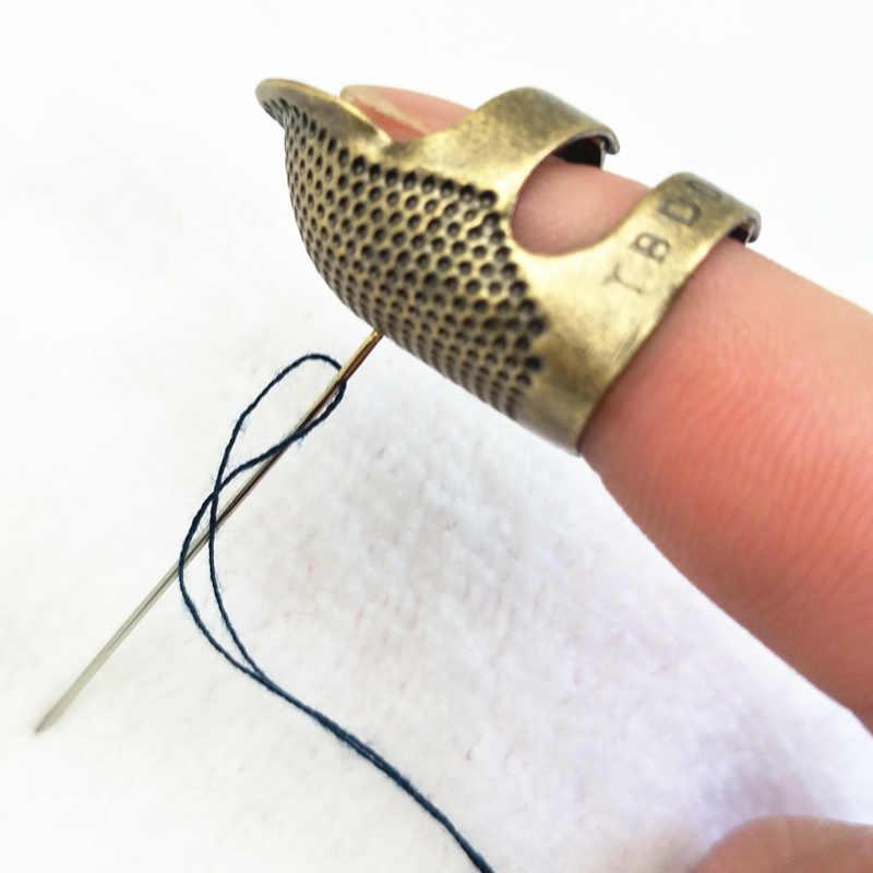 1 قطعة حامي الاصبع الرجعية العتيقة كشتبان حلقة اليدوية إبرة كشتبان الإبر الحرفية المنزلية أدوات خياطة يدوية اكسسوارات