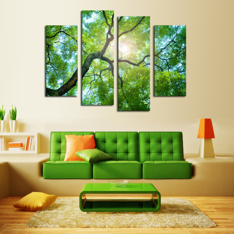 4 Panels (No Frame)Green Tree Painting Canvas Wall Art Picture Home  Decoration Living Room Canvas Print Modern Painting In Painting U0026  Calligraphy From Home ...
