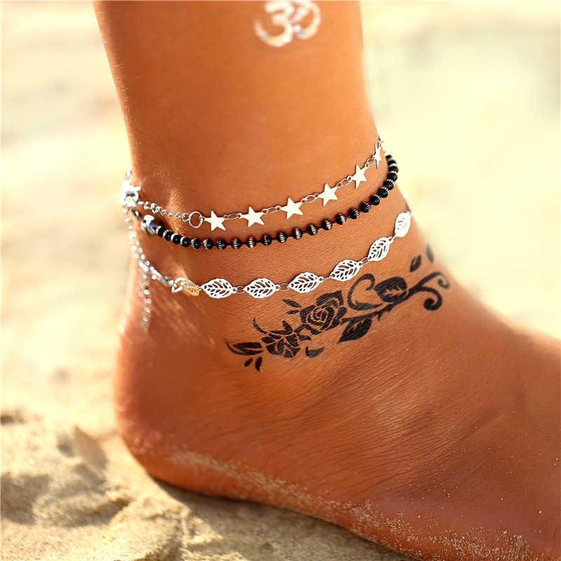 17MILE Boho VINTAGE ลูกปัดสแตนเลสหลาย DROP Anklets สำหรับผู้หญิง GOLD Sliver ข้อเท้าสร้อยข้อมือเท้าเครื่องประดับ 2019