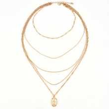 Woman Multi Layers Long Tassel Pendant Choker Chain Necklace Virgin Mary pendant multi-layer chain