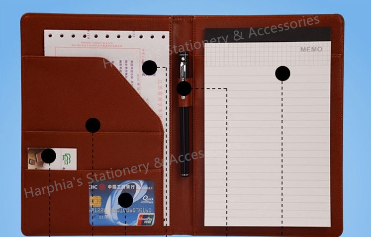 A5 Business Manager Conference File Folder Organizer Signature agreement padfolio Harphia FPDB-410 a4 leather discolor manager file folder restaurant menu cover custom portfolio folders office portable pu document report cover