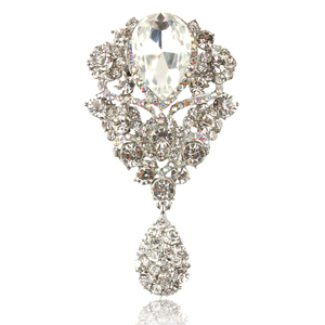 New Arrival Clear Teardrop Fashion Crystal Diamante Brooch Pins for Women in Silver color