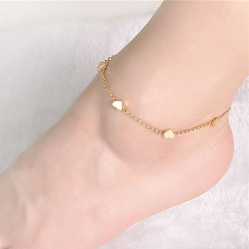 Summer Women Fashion Gold Foot Anklet Chain Jewelry Heart Love ...