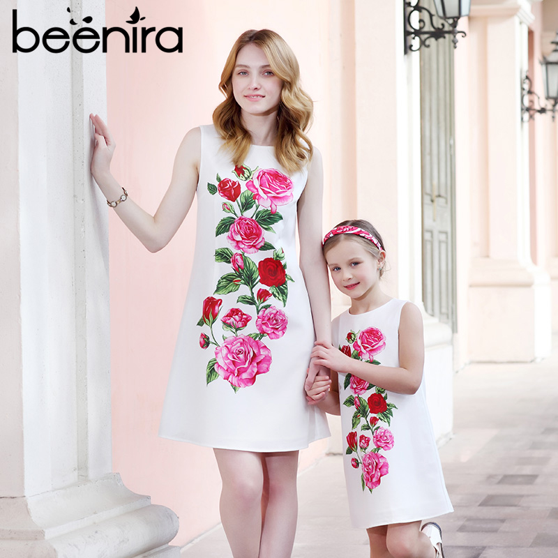 Beenira 2018 Summer Family Matching Outfits Mother Or Daughter Floral Dress Sleeveless Party Dress European and American Style