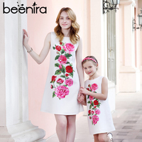 Beenira 2019 Summer Family Matching Outfits Mother Or Daughter Floral Dress Sleeveless Party Dress European and American Style