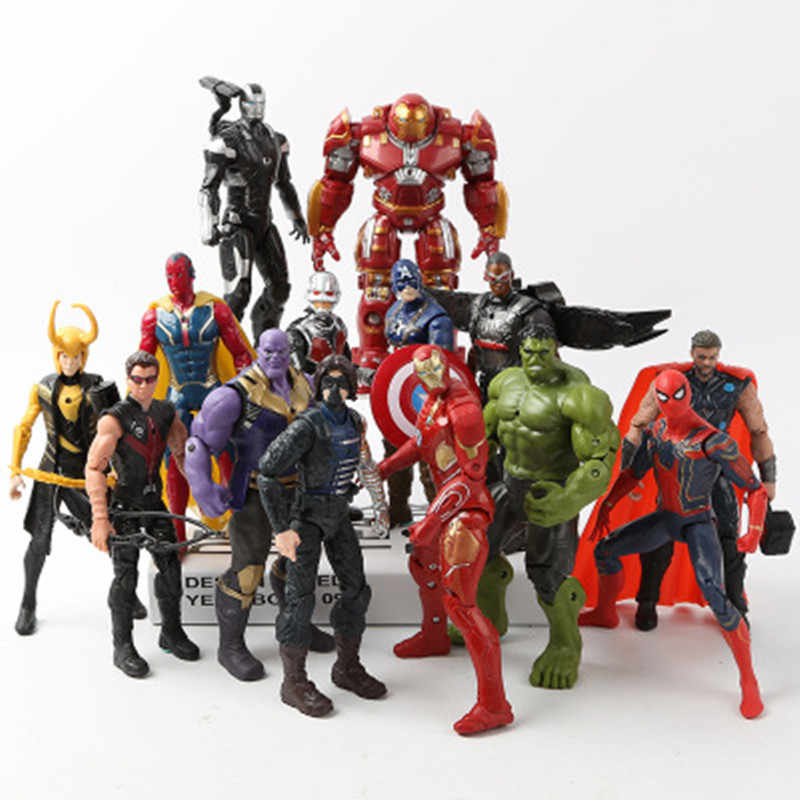 Marvel Avengers 3 Infinity Perang Film Anime Super Hero Captain America Ironman Spiderman Hulk Thor Superhero Action Figures, Mainan