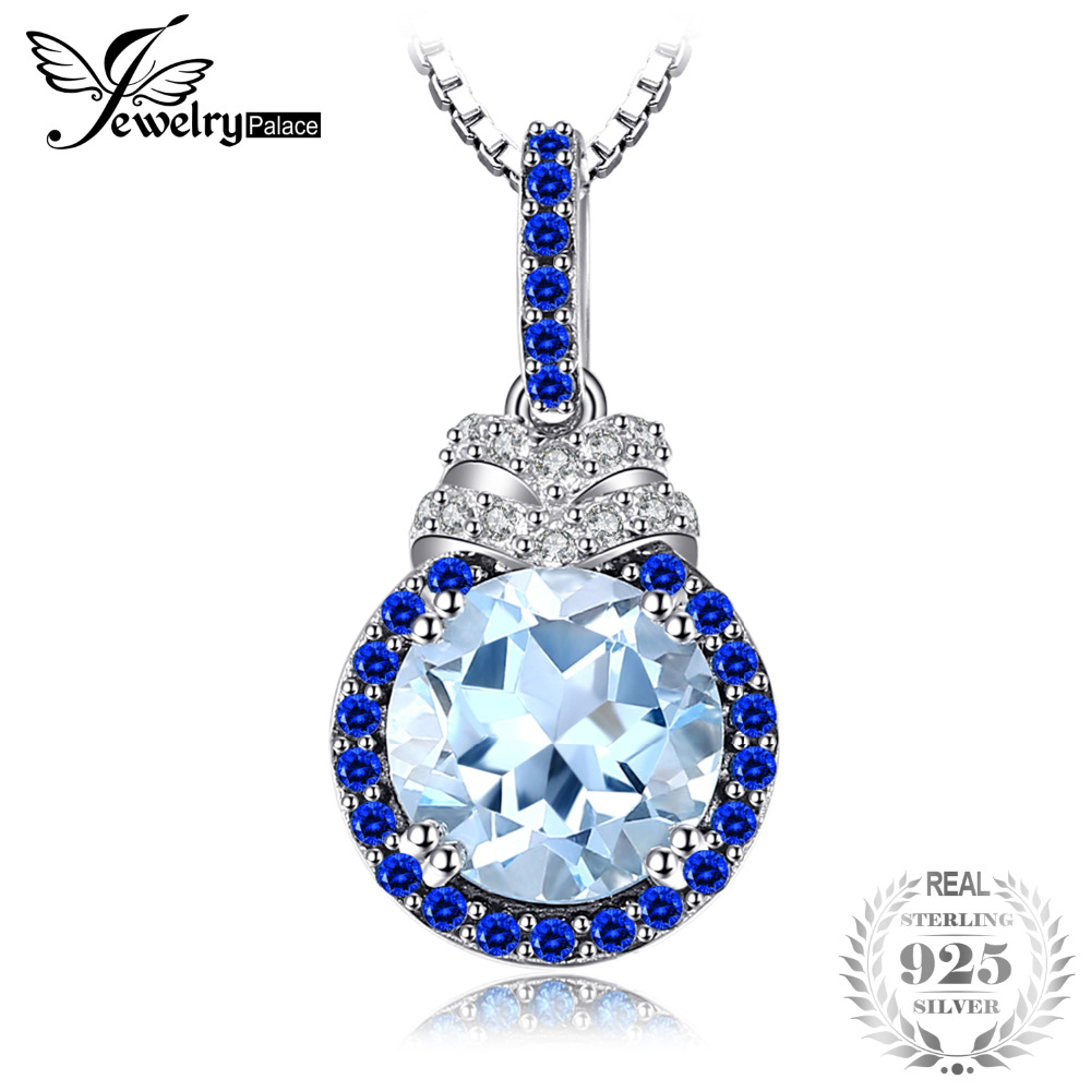 JewelryPalace 1.8ct Round Natural Sky Blue Topaz Halo Pendant Genuine 925 Sterling Silver Pendants Necklaces Not Include a ChainJewelryPalace 1.8ct Round Natural Sky Blue Topaz Halo Pendant Genuine 925 Sterling Silver Pendants Necklaces Not Include a Chain