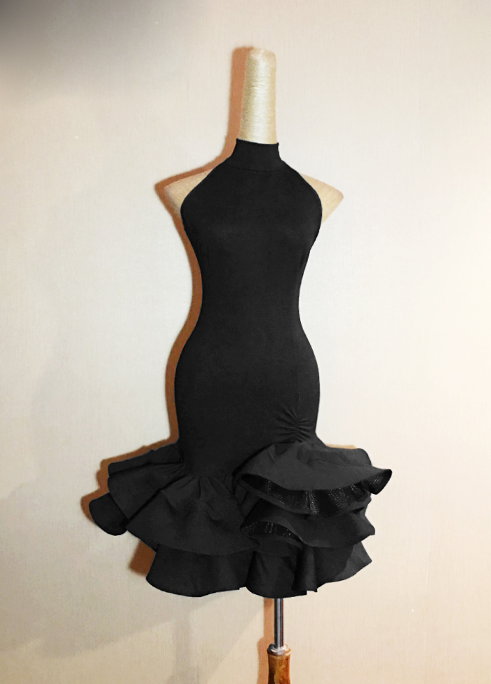 Latin Dance Dress Women 2018 New Adult Costume Latin Dance Competition Dresses Clothes For Salsa Black Dance Dress L94