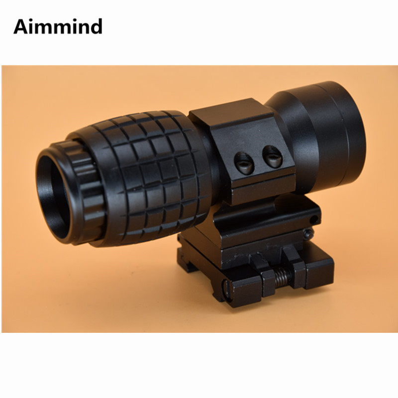 Tactical red dot sight scope 3x Magnifier Compact Sight with Flip UP Mount Side picatinny Airsoft Rifle gun rail mount Hunting|Riflescopes| |  - title=