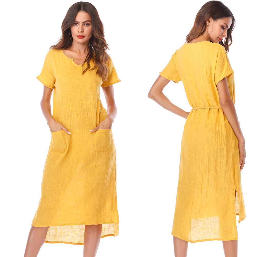 S-5XL Plus Size Cotton Dress Vintage Women Casual Belt Short Sleeve Long Summer Dresses Female Office Maxi Dress Vestidos
