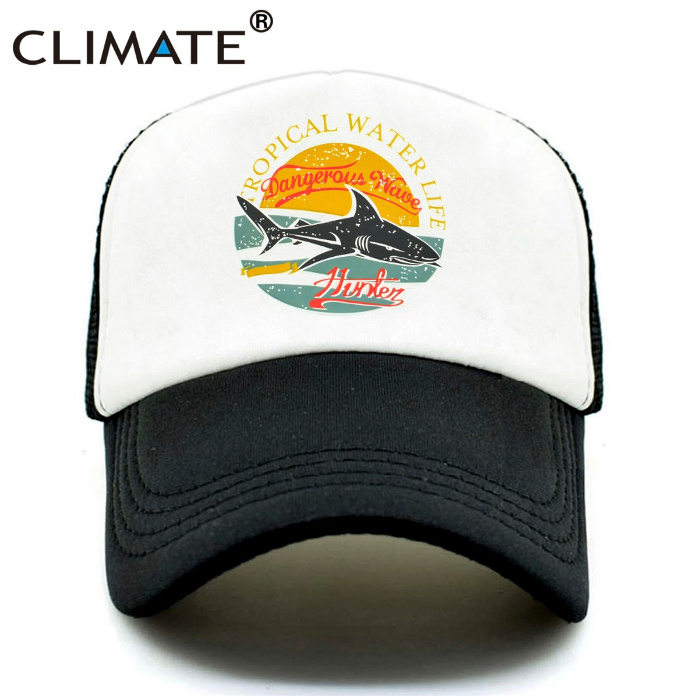 CLIMATE Shark Seaside Trucker   Caps   Hat Shark Hunter Surfing Men   Caps   Hip Hop Cool Summer Mesh   Baseball     Cap   Hat for Men Women