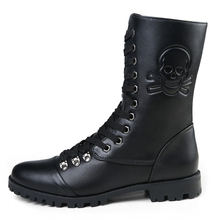 New Fashion 2016 Brand Skull Zip Martin Boots Winter England Style Fashionable Men's Short Black Motorcycle Mid-Calf Boots J647