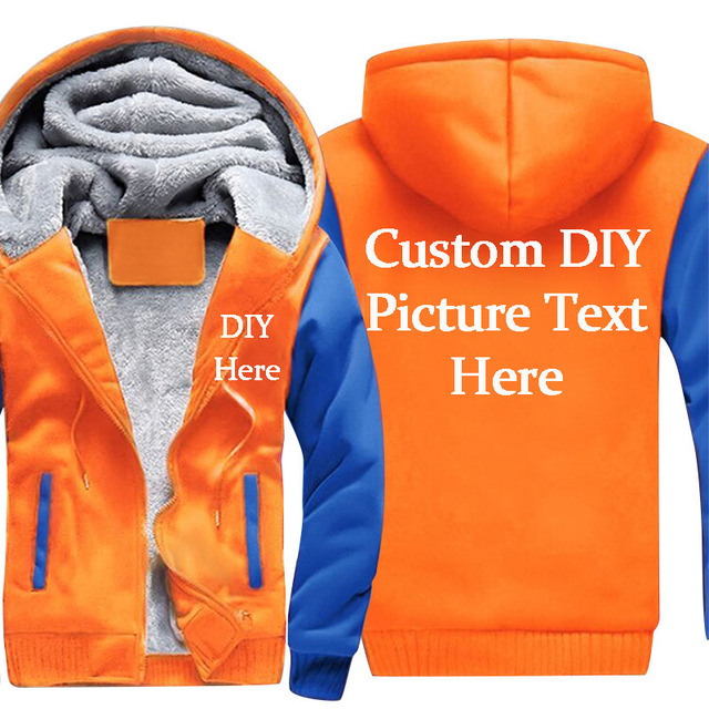 e51334317e9 Drop shipping Men s Pullover Hoodies Sweatshirts DIY LOGO Customized High  Quality Cotton Hooded Thicken Fleece Coats