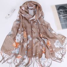 bandana rayon soft shawls capes with tassels floral printed long scarf beach muslim girls headscarfs hijabs turban shawl