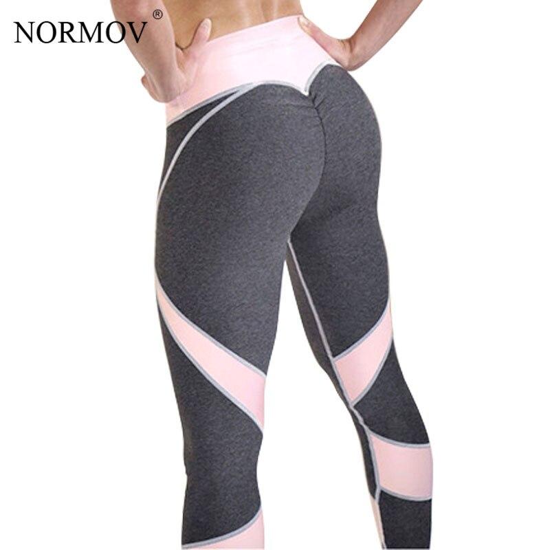 NORMOV seksi Push Up tayt kadınlar kalp Patchwork spor Legging Femme Activewear nefes streç pantolon kadın S-XL 2 renk