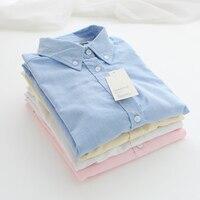 2017 Herfst Nieuwe Collectie Vestidos, vrouwen Werkkleding Lange Mouwen Oxford Shirt, vrouwelijke Mode Casual Wit Katoen Blouse Tops