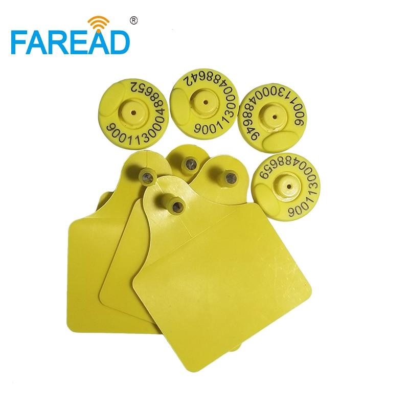 X100pairs 134.2KHz  ISO11784/5 RFID Animal Ear Tag For Animal Identification Visual Tag FDX-B 134.2khz Frequency Sheep Cow Pig