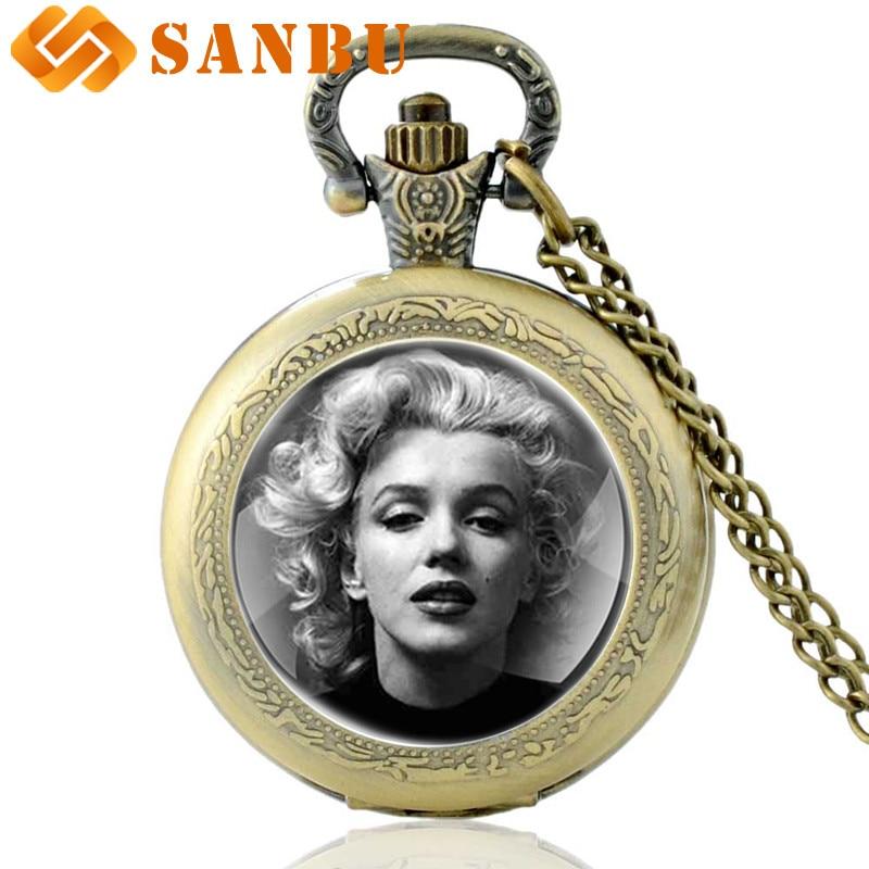 Antique Classic Marilyn Monroe Quartz Pocket Watch Vintage Men Women Necklace Pendant Retro Jewelry