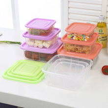 3pcs/set Plastic Food Storage ContainerSet Fresh Refrigerator Storage Box Preservation Box Container Home Kitchen Supplies