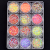 12 Colored Dot Colored Hexagon Nail Sequins Powder Decoration Nails Art Glitter Mix With Gel Manicure