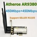 Atheros AR9380 AR5BXB12 802.11a/b/g/n 900 Mbps PCI-E WiFi Adaptador Com 3 x SMA 6DBi antena Para MAC os/Linux/Windows 8,10