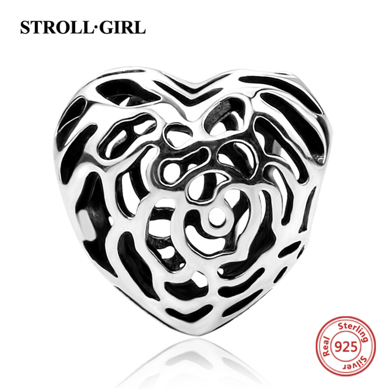 Fit Authentic Pandora Charms Bracelets Silver 925 rose hollow love heart beads DIY European fashion Jewelry making women Gifts