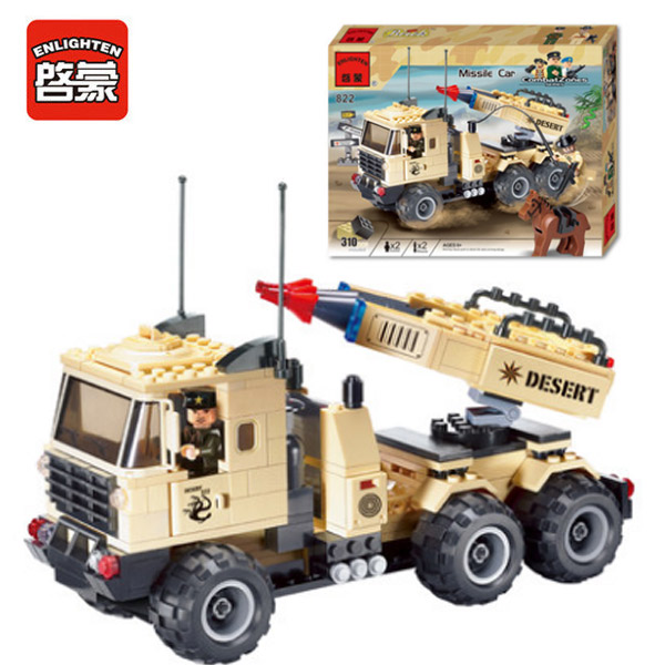 Enlighten 822 Modern Military Missile Vehicle Missile Combat Zones SWAT Model 310pcs Bricks Building Block Toys For Gift atlas 1 43 germany horch kfz 15 military command reconnaissance vehicle model alloy collection model holiday gift