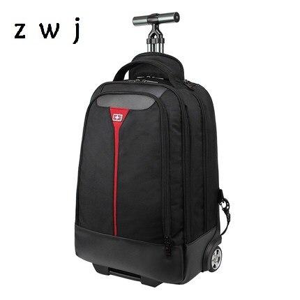 Biznes duża pojemność plecak na kółkach wodoodporne etykiety na walizki Carry On bagaż z kieszenią na laptopa podróży plecak w Torby podróżne od Bagaże i torby na  Grupa 1