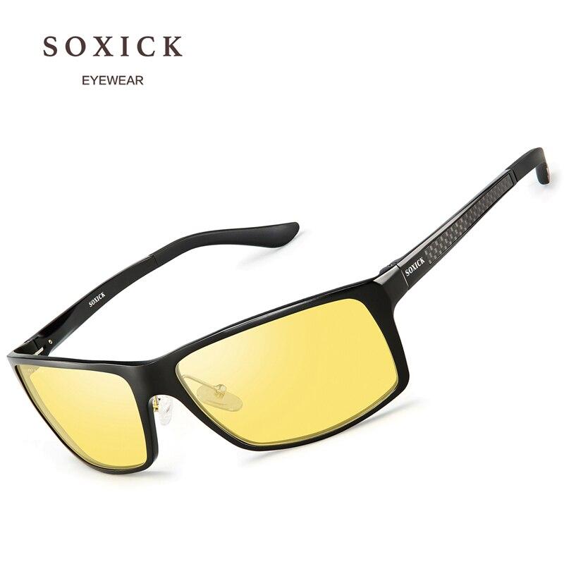 c4d7f33336 SOXICK Brand Night Version Polarized Sunglasses Yellow Lens Anti Glare  Safety Men Women Driving Glasses Handmade Sport Eyewear-in Sunglasses from  Apparel ...