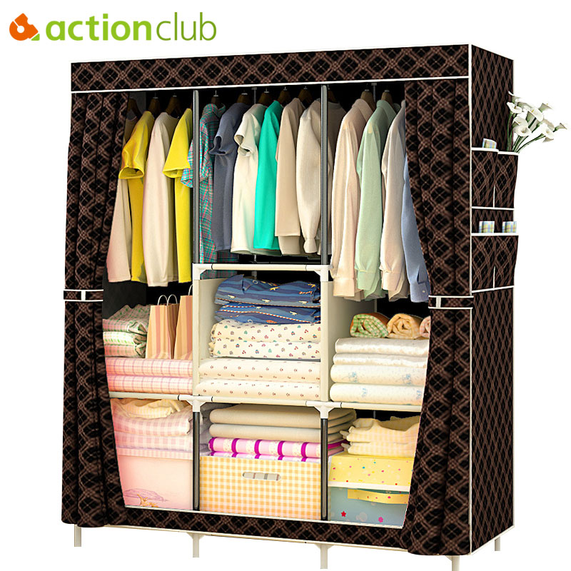 Actionclub Non-woven Multifunction Wardrobe Closet Furniture Fabric Large Wardrobe Portable Folding Cloth Storage Cabinet Locker duh non woven wardrobe combination wardrobe double folding wardrobe assembling home furnishing decoration coat hangers locker