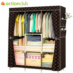 Actionclub Non-woven Multifunction Wardrobe Closet Furniture Fabric Large Wardrobe Portable Folding Cloth Storage Cabinet Locker