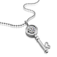 New Fashion Dazzling 12MM Zircon Key Pendant Necklace Women S 925 Silver Key Necklace Charm Lady