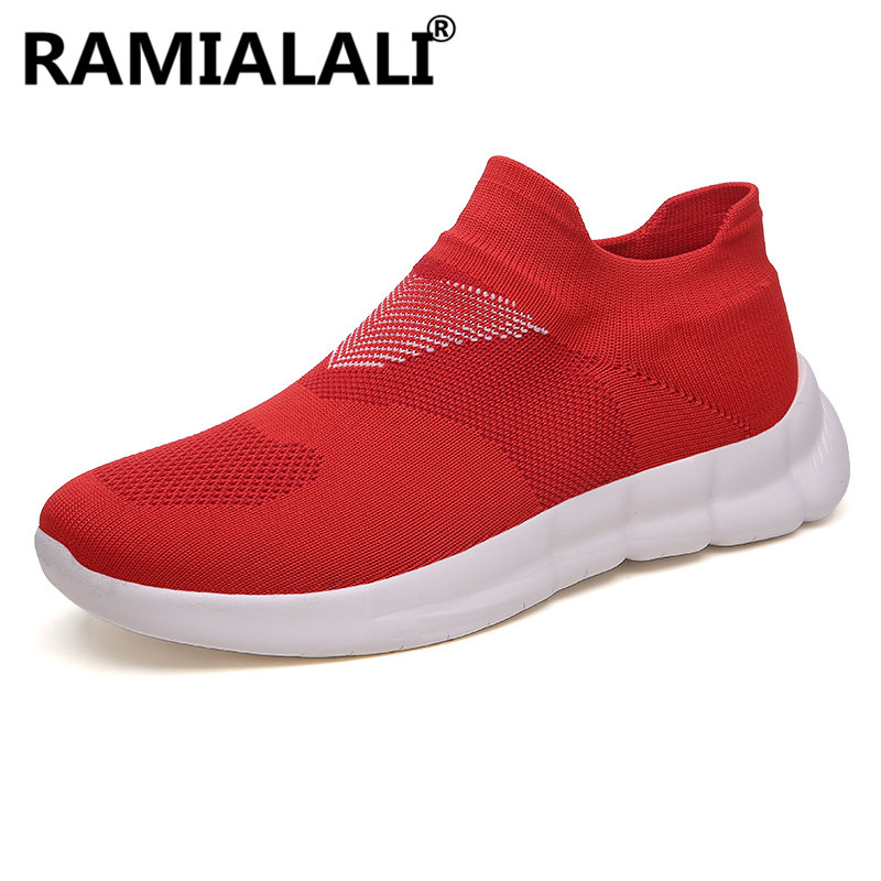 Ramialali Fly Knitted Men Running Shoes Mesh Sock Sneakers Jogging Men Shoes Cheap Breathable Sport Shoes High Quality Underwear & Sleepwears