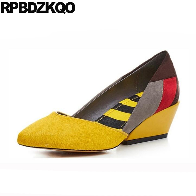 Purple Catwalk Size 4 34 Medium Pointed Toe Genuine Leather Unique Multi Colored Pumps Ladies Yellow Shoes High Heels Horsehair 3 inch autumn horsehair platform square toe creepers high heels yellow ladies green wedge shoes genuine leather wine red pumps