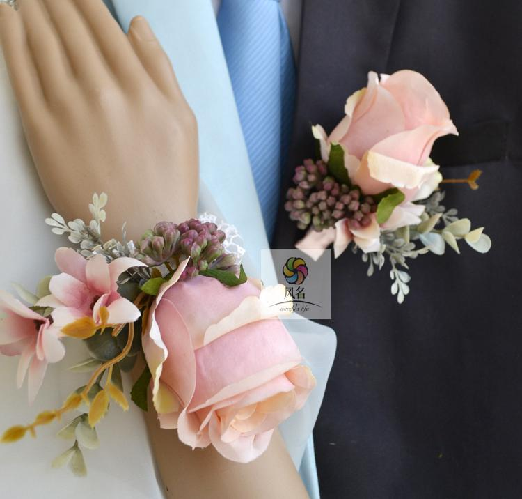 Wrist Corsages Wedding: Wedding Groom Boutonniere Bride Bridesmaid Hand Wrist