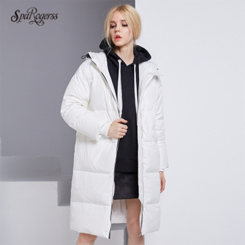 цены на SpaRogerss 2017 Winter Duck Down Jacket Women Long Coat Parkas Thickening Female Warm Clothes  High Quality Outwear Tops в интернет-магазинах