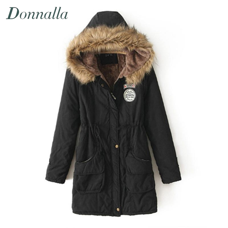 Autumn Winter Jacket Coat Women Parka Appliques Women Clothes Hooded Solid Long Jacket Plus Size Women