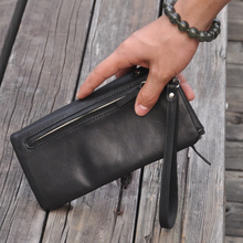 Lowest cheap price genuine leather day clutches women oil wax leather clutch bag designer three wristlets wallet purse 3018