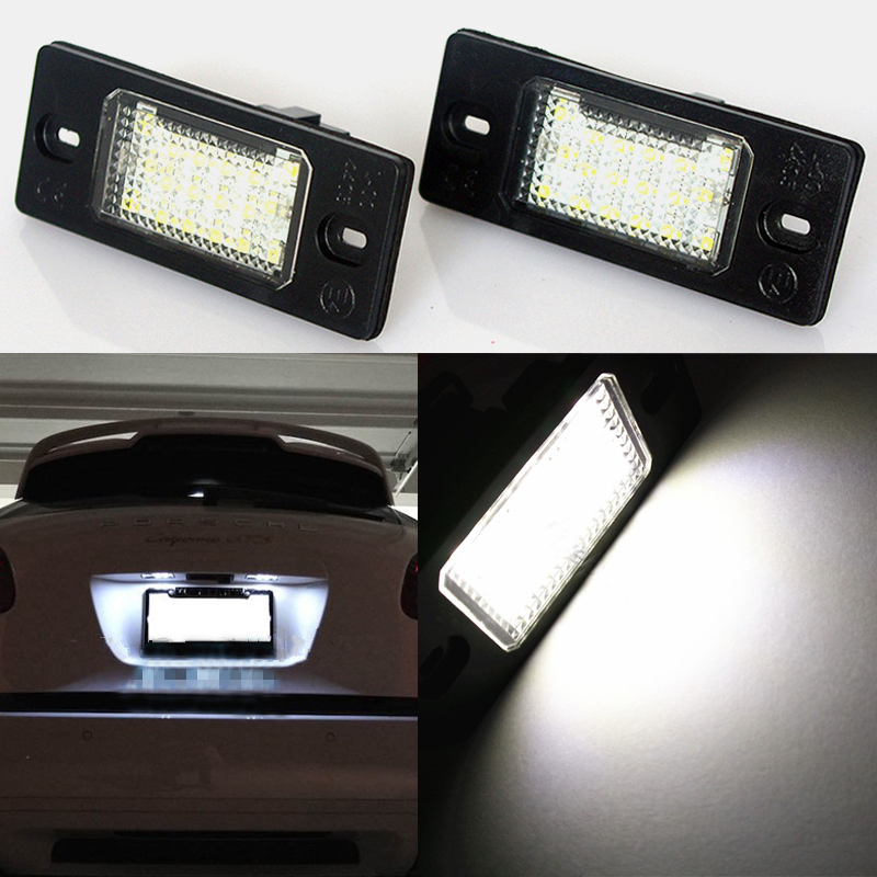 LED Car License Plate Light For Porsche Cayenne VW Touareg Passat Golf 5 5D Touring Tiguan SMD3528 Number Plate Lamp 18 LEDs  qook 2piece car error free led license number plate light lamp for porsche vw golf polo passat seat number plate lamp