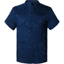 2018 Spring Autumn Features Shirts Men Casual Chinese Traditional Short Sleeves Tang Shirt Male Shirts L900