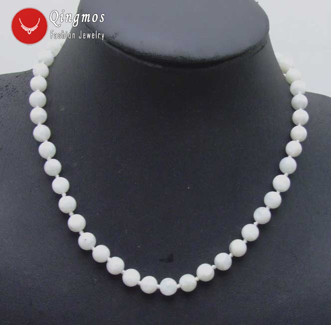 Qingmos Genuine White MoonStone 18 Chokers Necklace for Women with 8mm Round White Natural Gem stone MoonStone Necklace nec5822